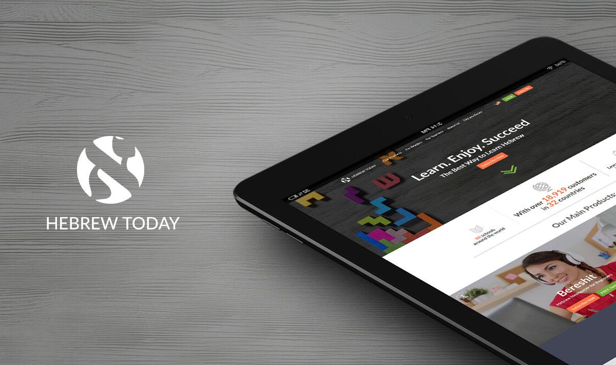 מסך של אייפד מציג אתר אינטרנט
